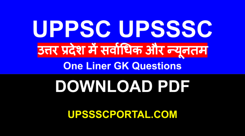 UPPSC UPSSSC One Liner GK [ Largest and Least ]