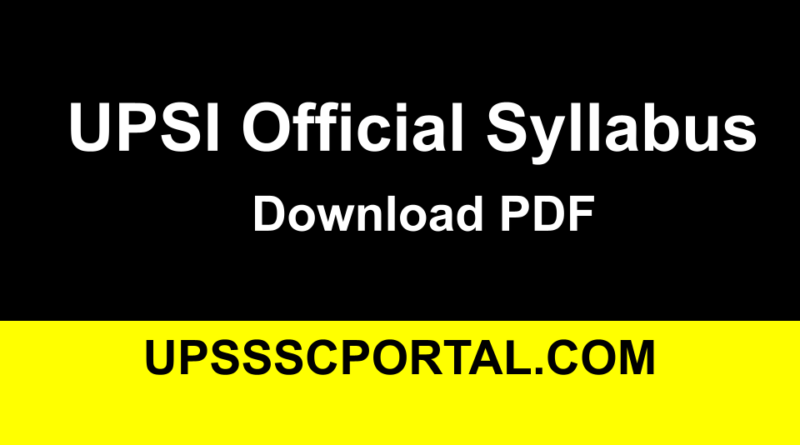 UP SI Exam Syllabus PDF in Hindi